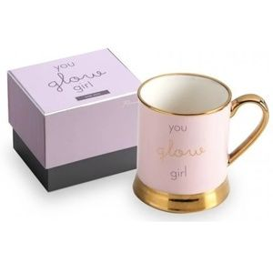 You Glow Girl Porcelain Mug with Metallic Gold